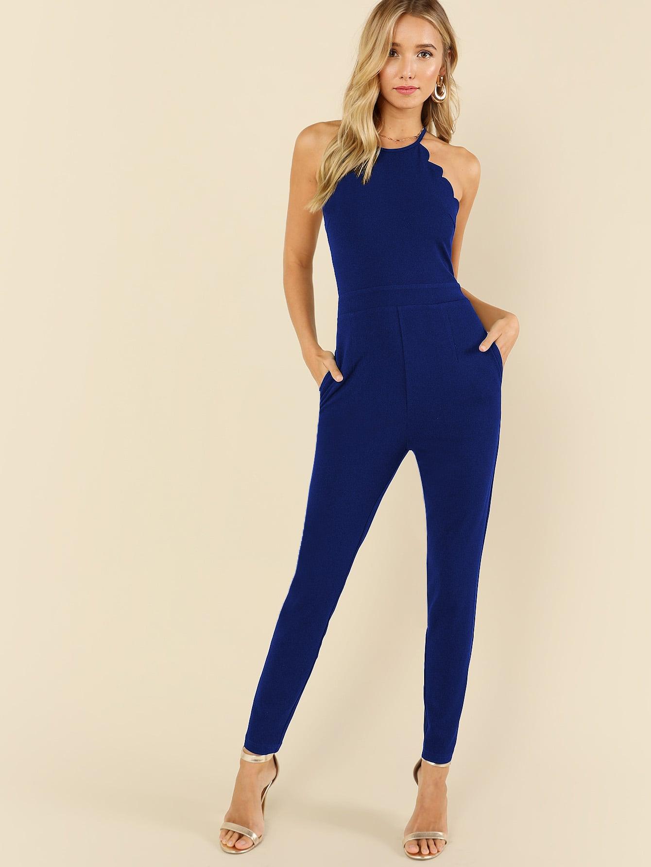 Scallop Edge Halter Tailored Jumpsuit plaid tailored jumpsuit