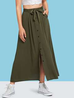 Button & Split Front Belted Solid Skirt