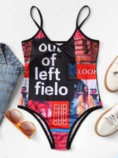 Mixed Print Cami Bodysuit