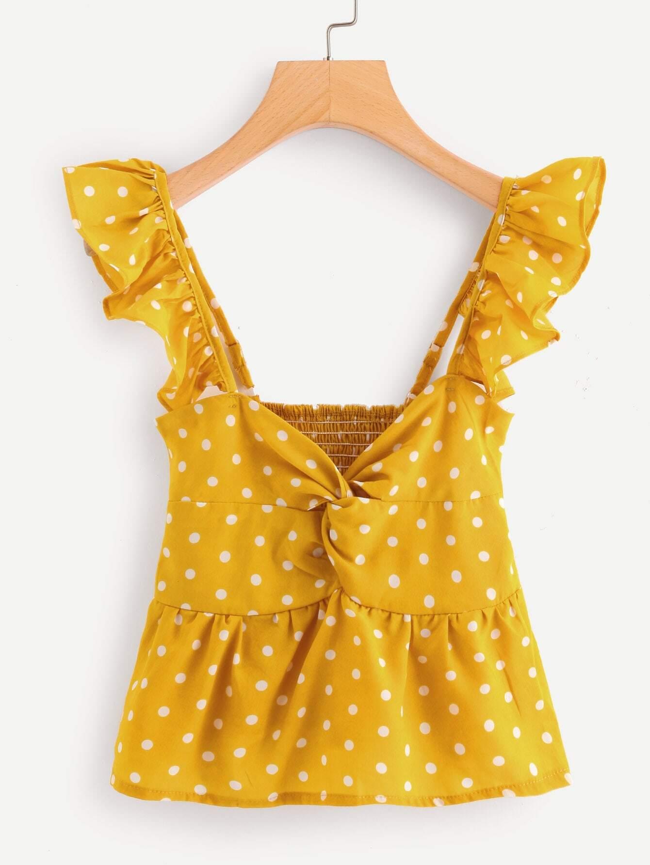 Twist Front Frill Trim Polka Dot Top girls frill trim polka dot dress