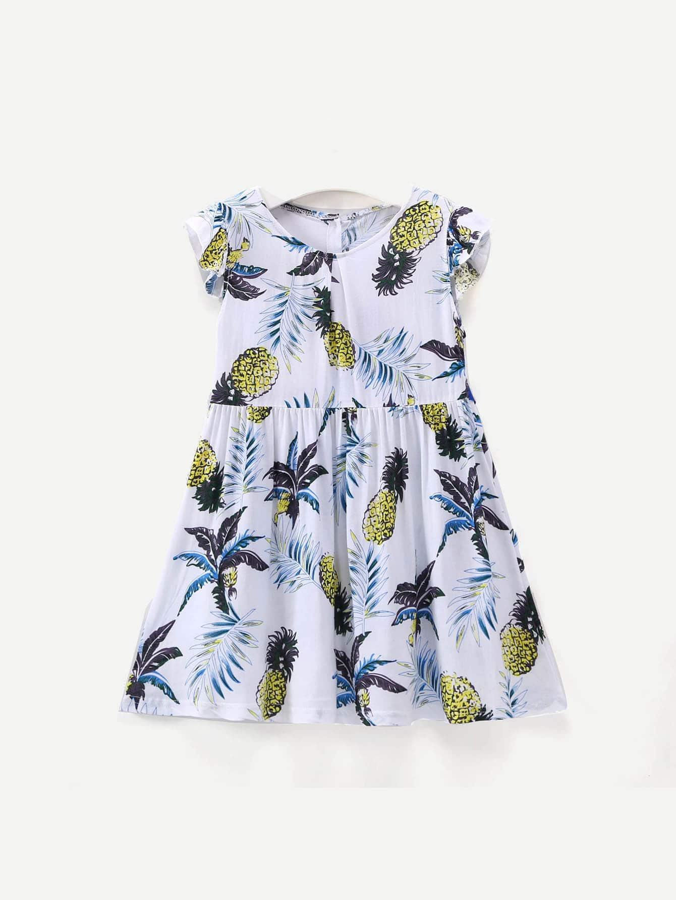Kids Pineapple Print Bow Tie Back Dress kids pineapple print vest