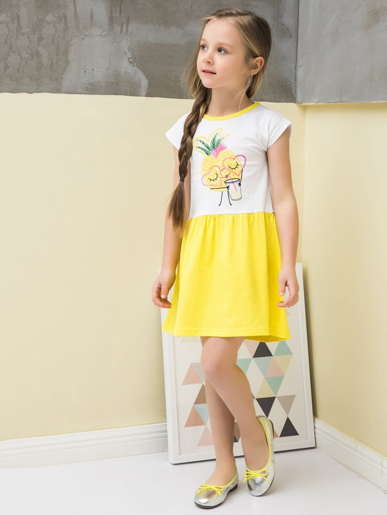 Kids Pineapple Print Contrast Panel Dress kids pineapple print vest