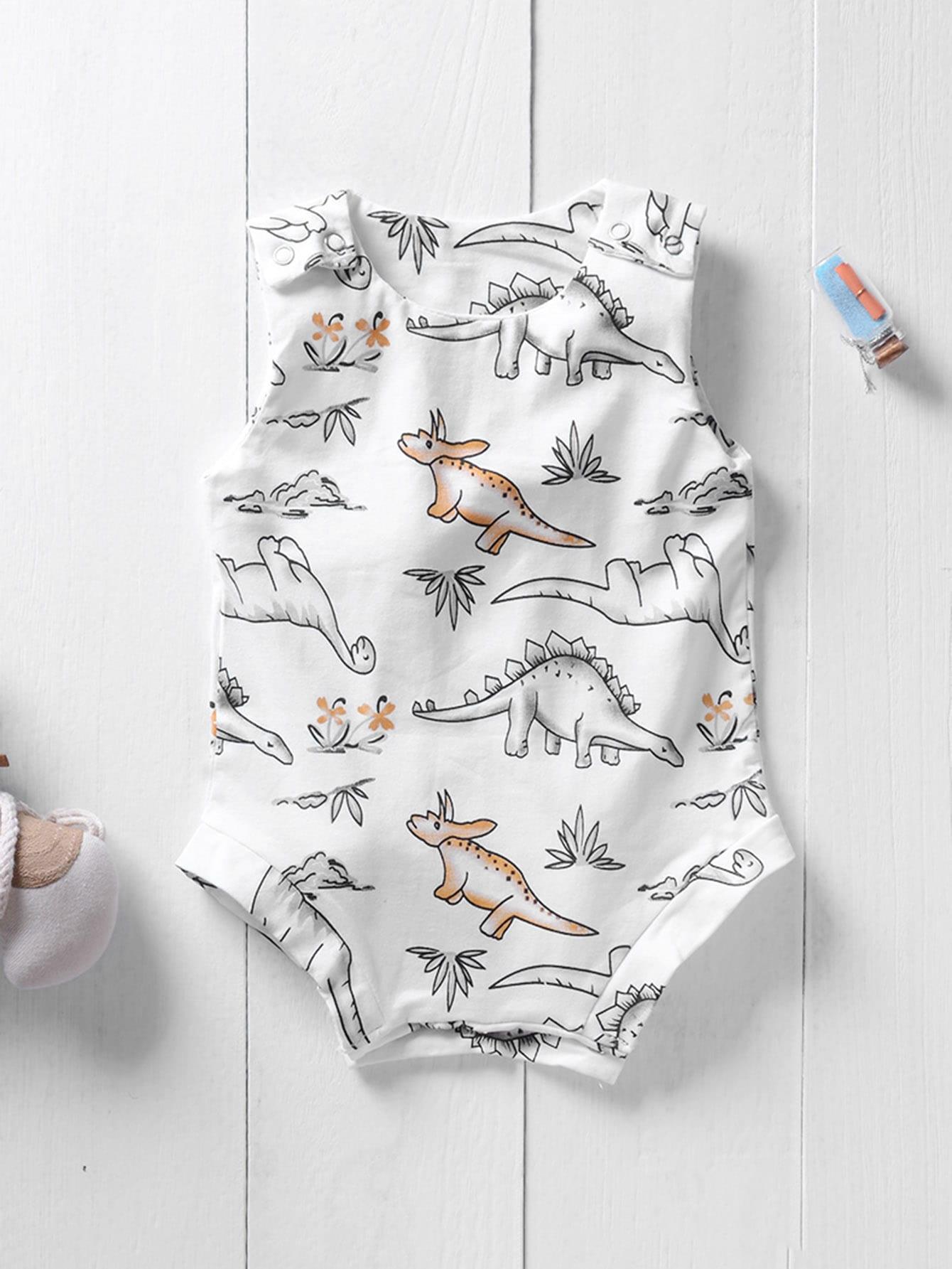 Купить Дети-динозавры Печать Romper, null, SheIn