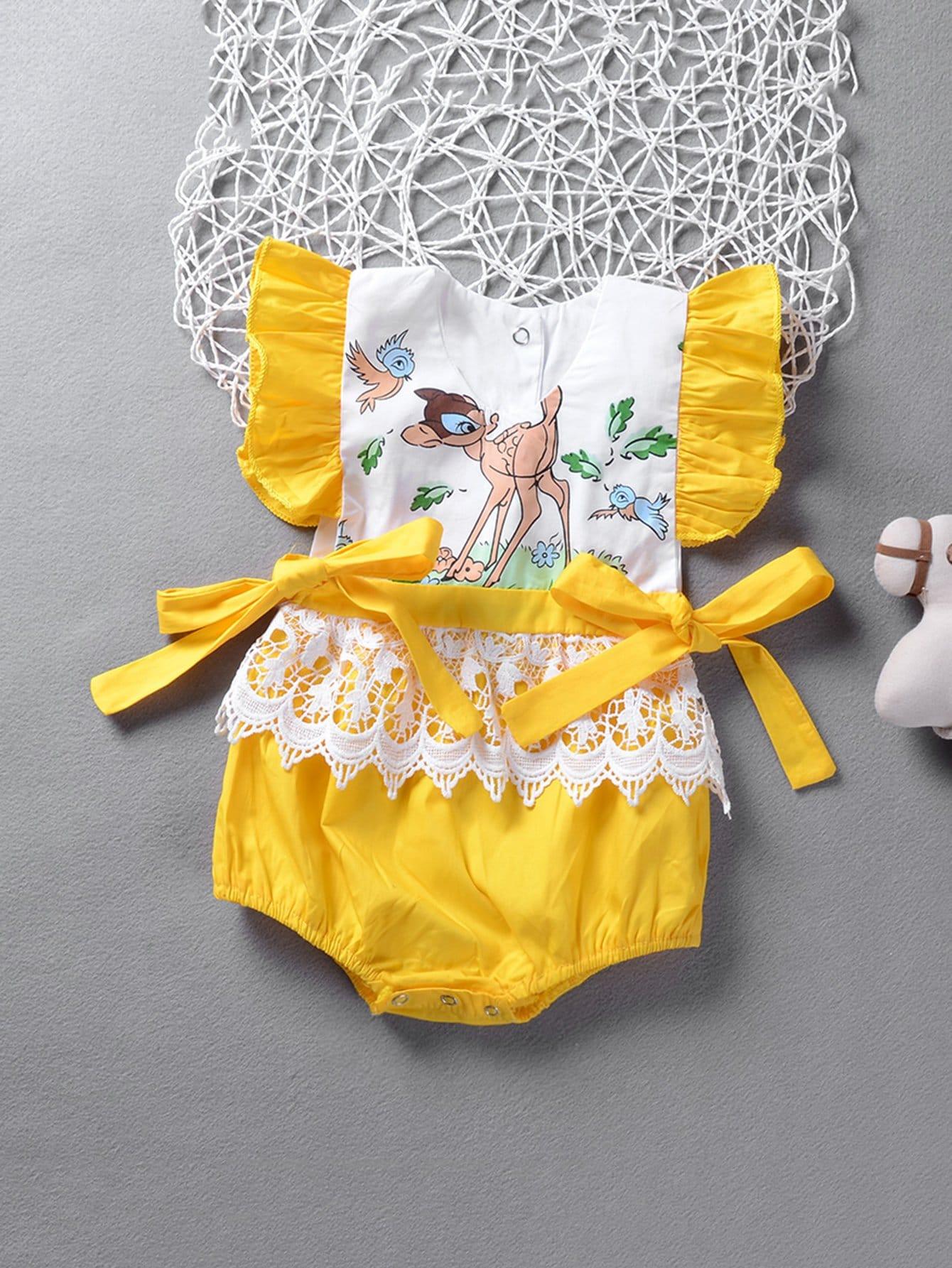 Купить Детский контраст Кружева Ruffle Bow Tie Romper, null, SheIn