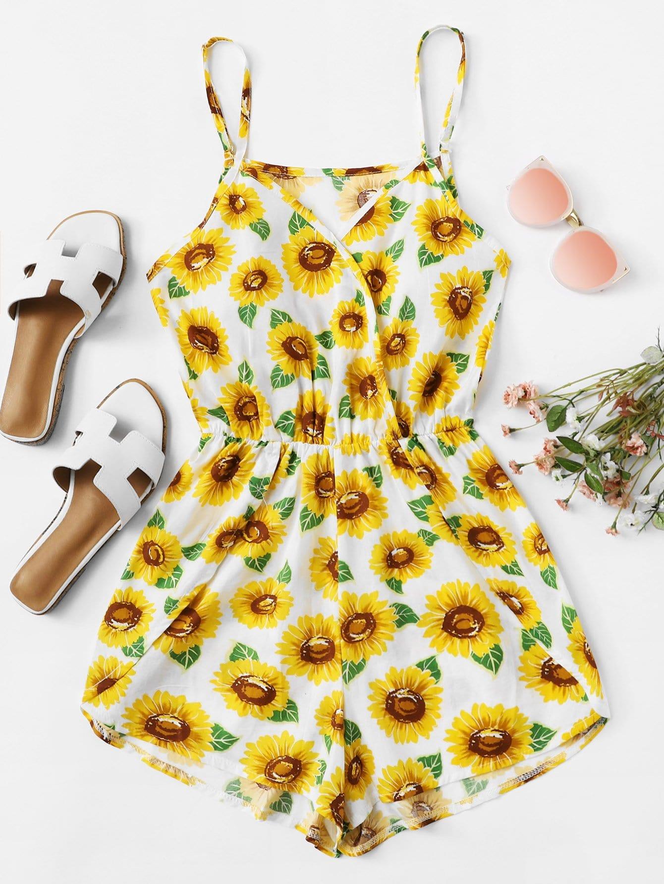 Sunflower Print Wrap Cami Romper