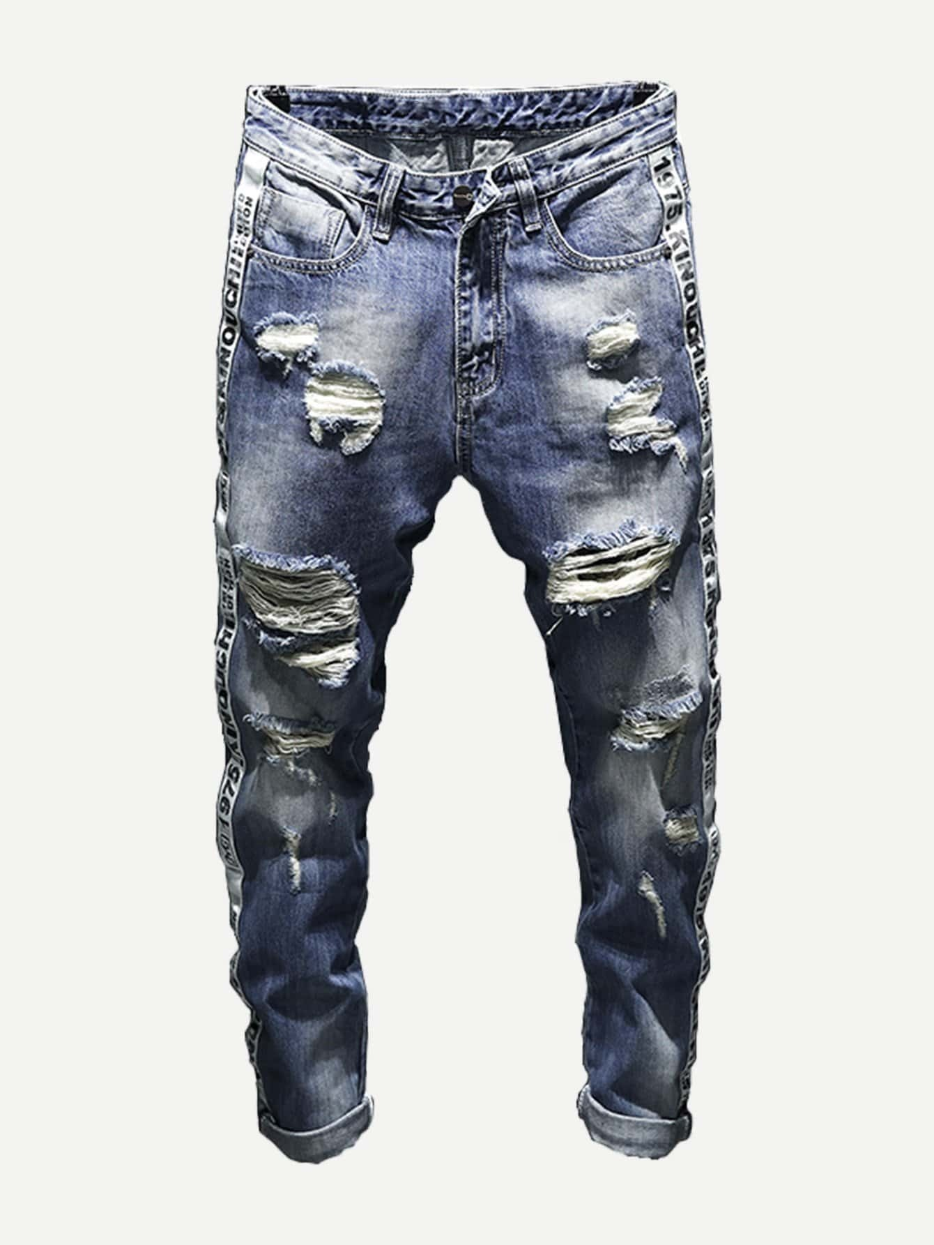 Men Tape Detail Rolled Hem Destroyed Jeans 0 06 thickness 0 06 100mm authentic 304 321 316 stainless steel col rolled bright thin foil tape strip sheet plate coil roll