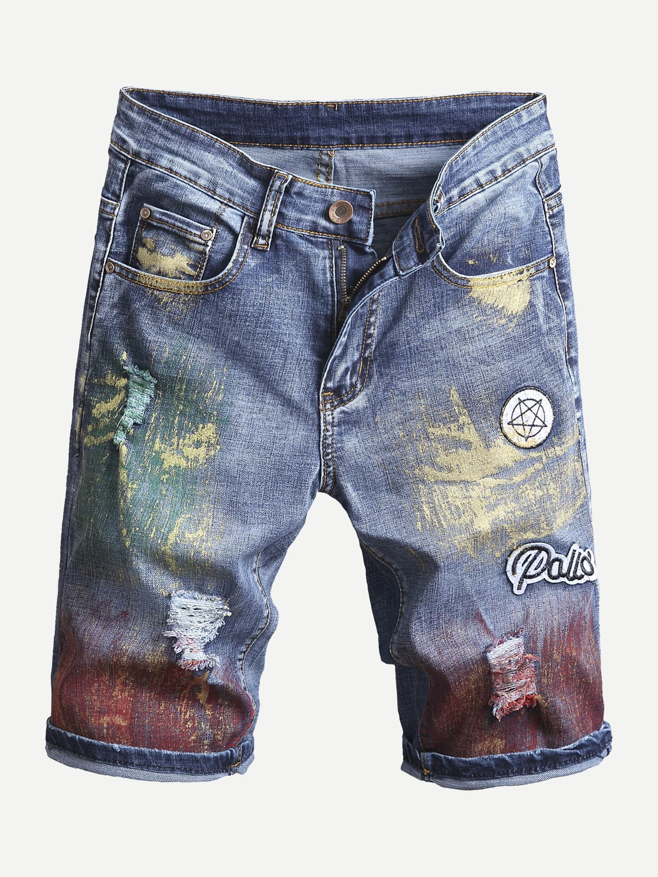 Men Patched Destroyed Denim Shorts men embroidery patched denim jacket