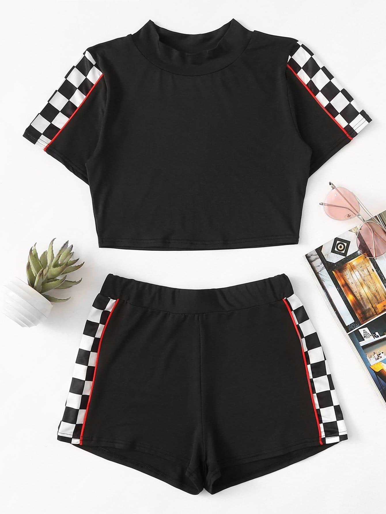 Купить Повседневный стиль Клетчатая хлопчатобумажная ткань Черный Комплект, null, SheIn
