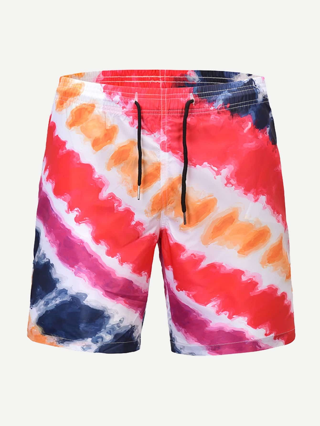 Men Tie Dye Striped Drawstring Beach Shorts men colorful striped drawstring shorts