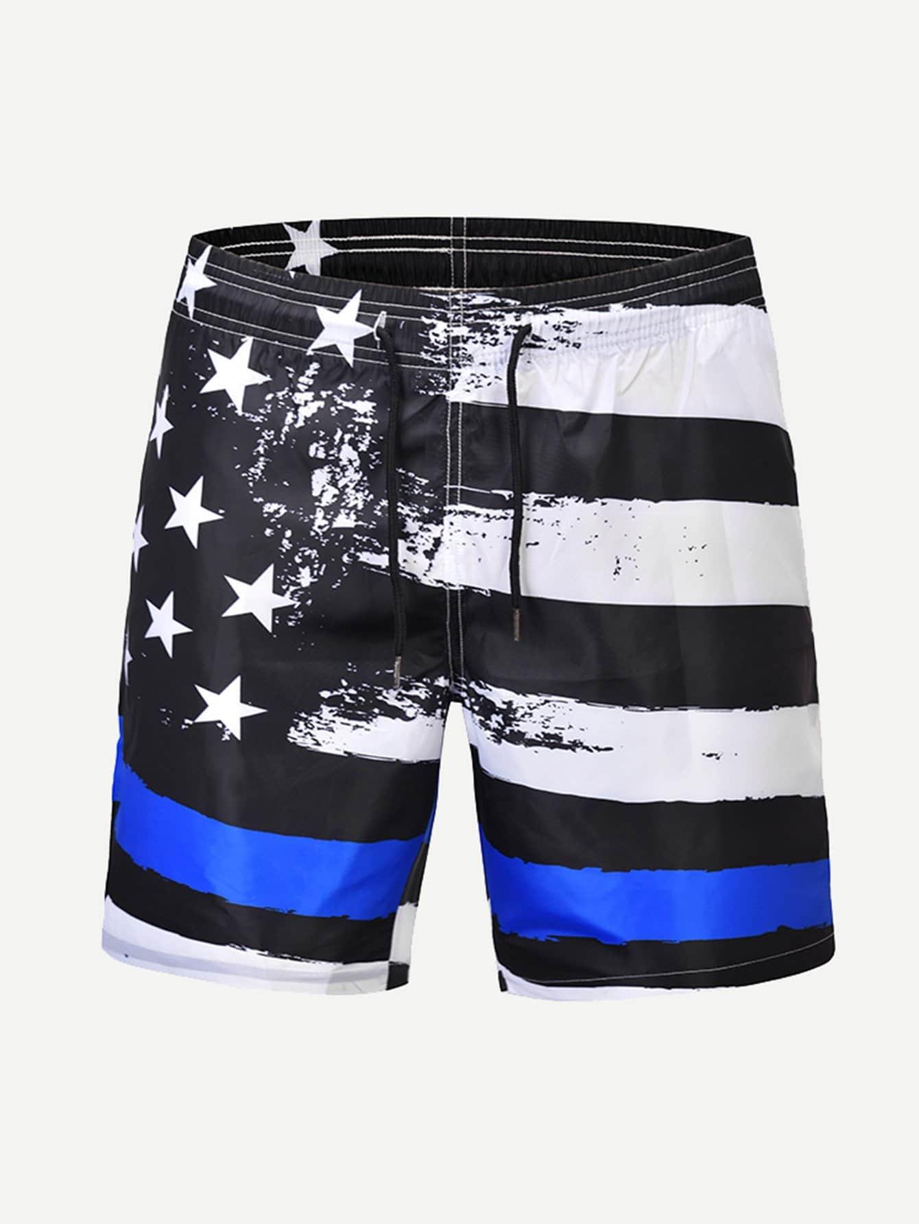 Men Star And Striped Print Drawstring Beach Shorts men colorful striped drawstring shorts