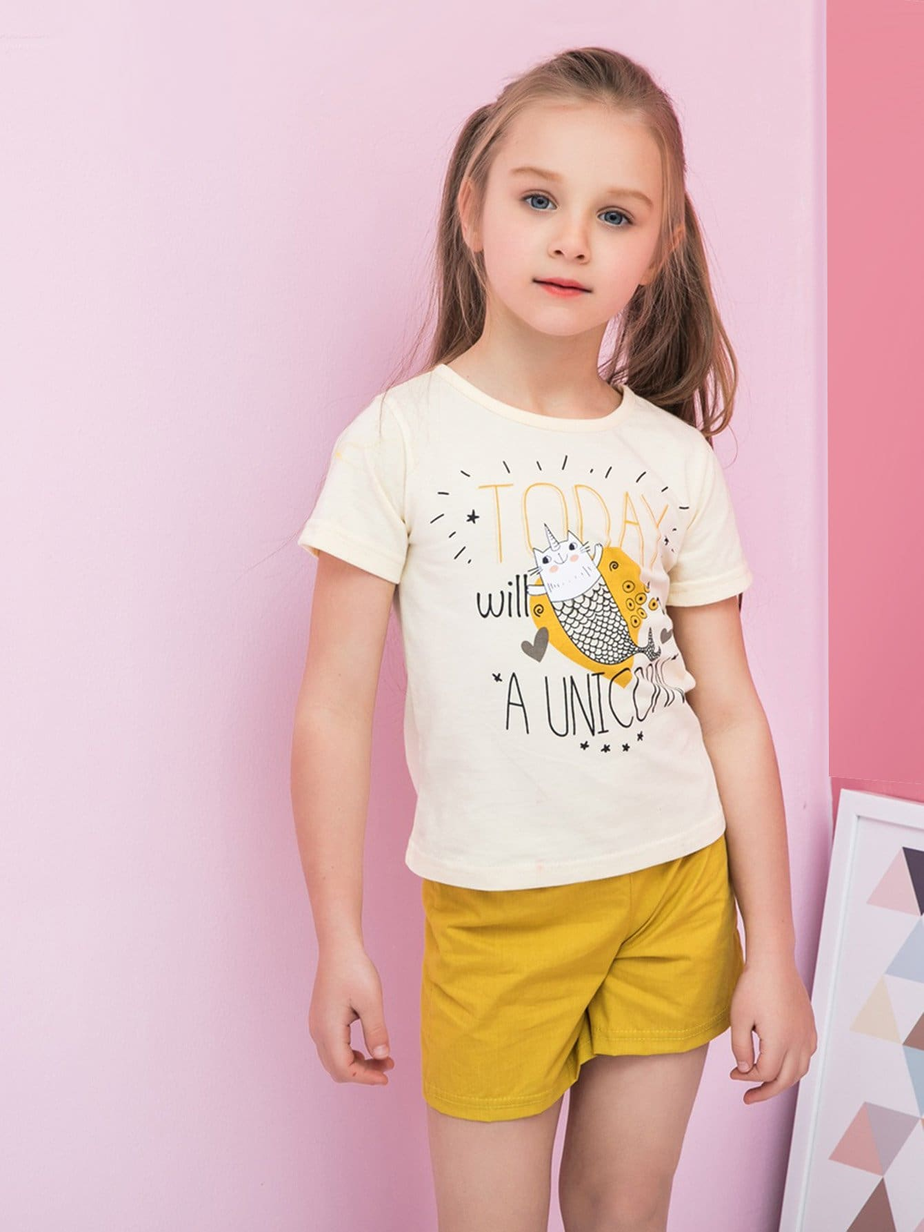 Kids Letter Print Tee With Plain Shorts letter print hooded tee with shorts