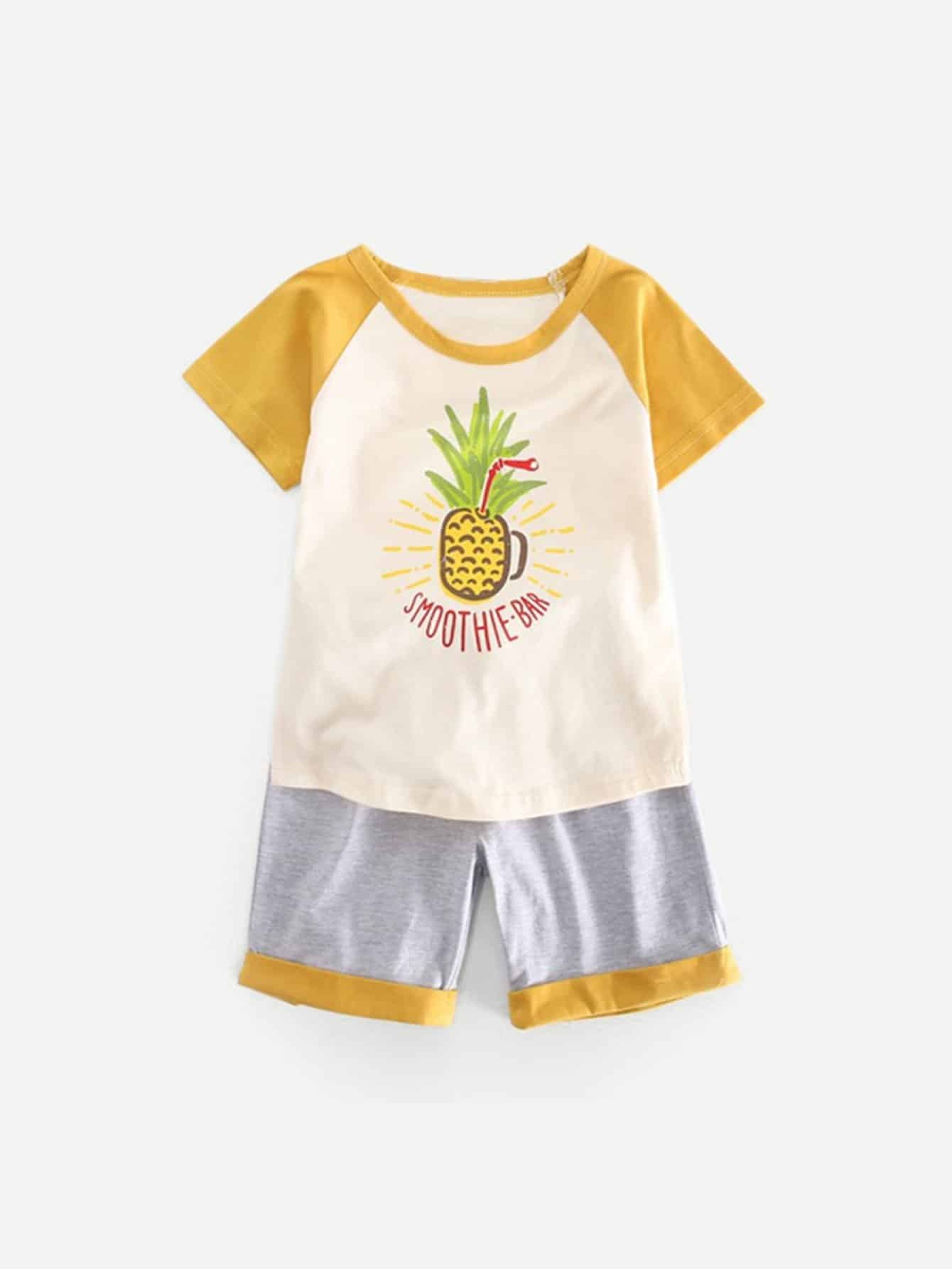 Kids Pineapple Print Tee With Rolled Hem Shorts kids pineapple print vest
