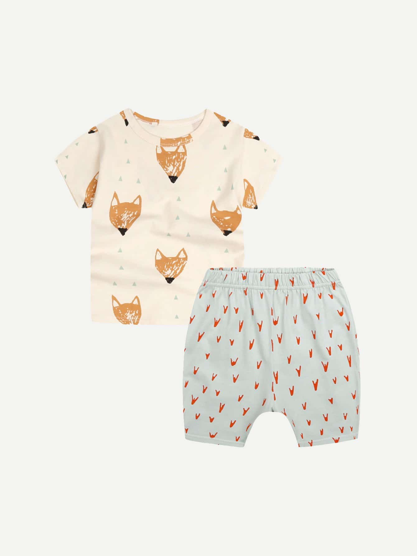 Kids Wolf Print Tee With Shorts dinosaur print tee with shorts