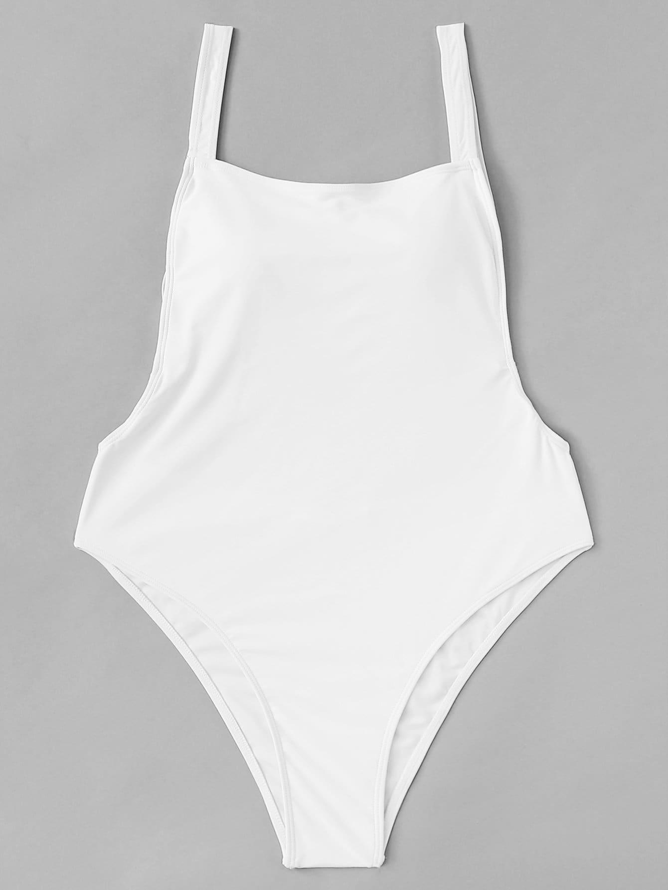 Plus Open Back Plain Swimsuit