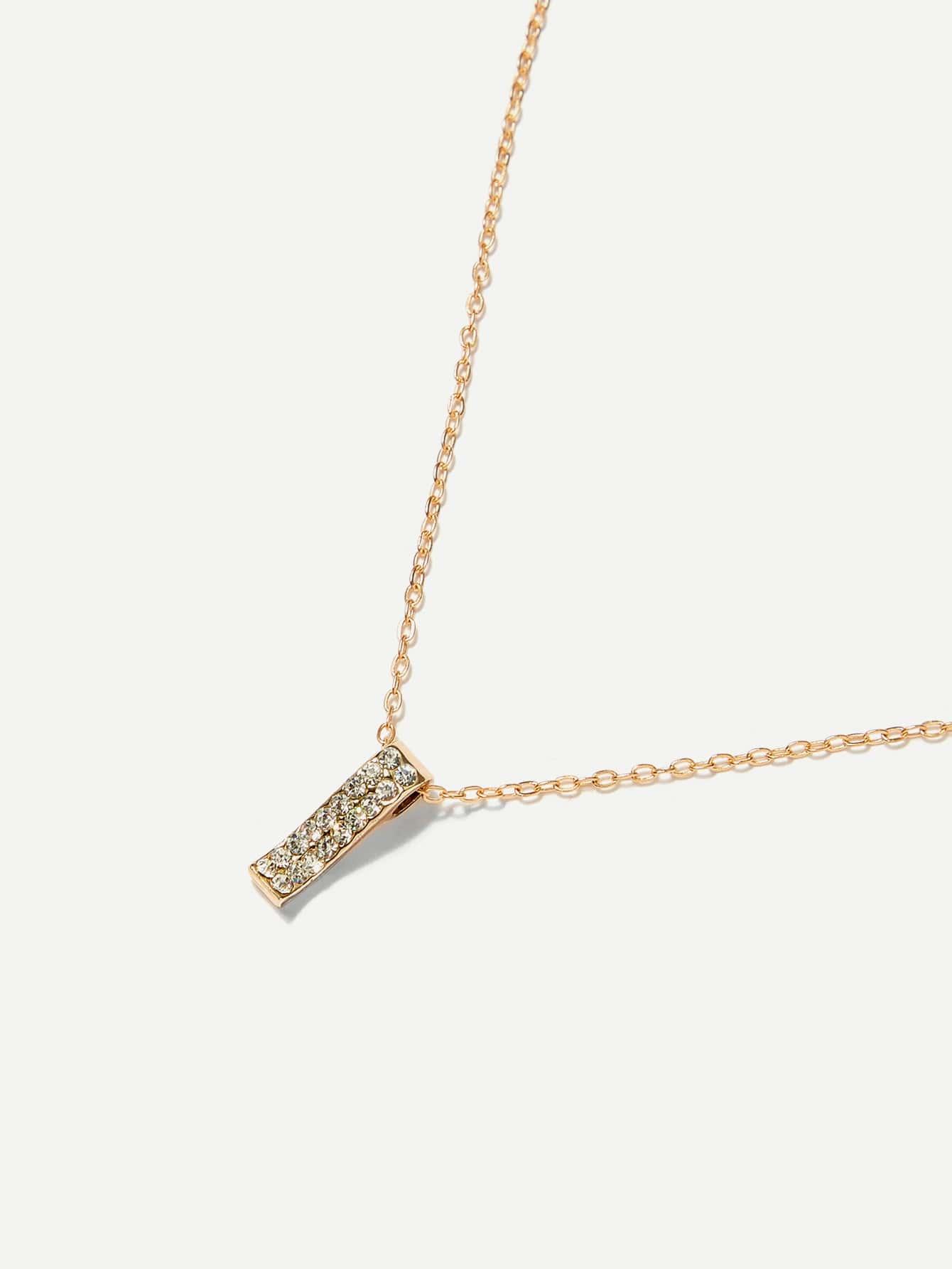 Rhinestone Bar Pendant Necklace rhinestone bar pendant necklace
