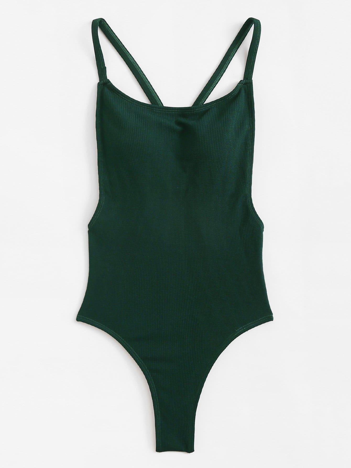 Criss Cross Open Back Swimsuit criss cross open back ruffle dress