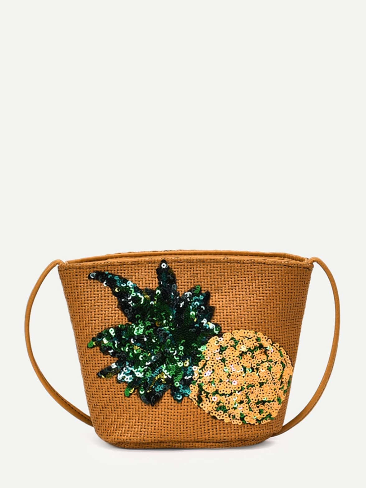 все цены на Sequin Pineapple Detail Weave Shoulder Bag