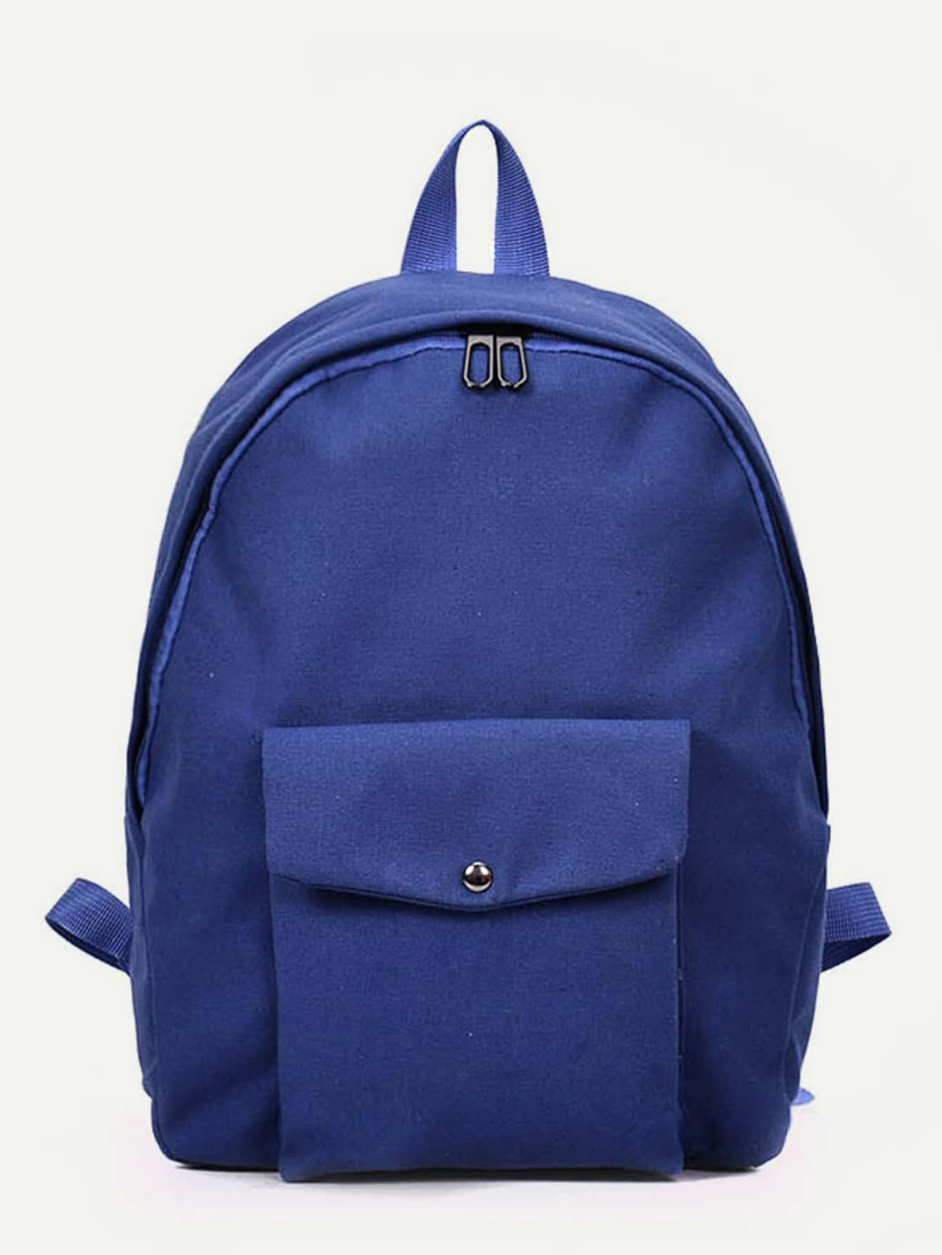 Pocket Front Canvas Backpack double pocket front flap backpack
