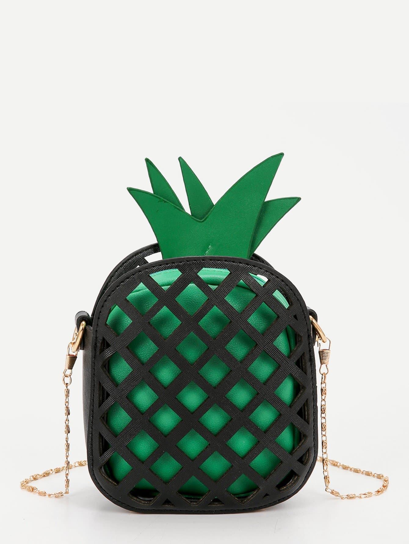 Pineapple Shaped PU Chain Crossbody Bag pineapple shaped pu bag