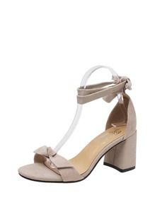 Bow Tie Lace-up Heeled Sandals