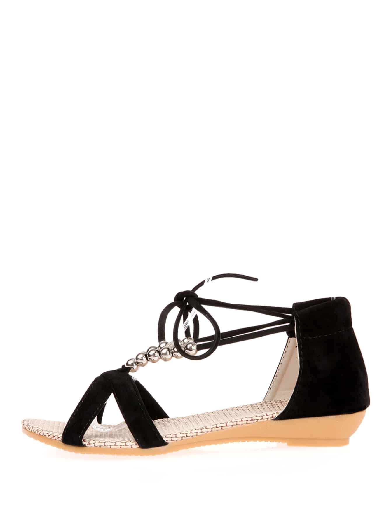Beaded Detail Criss Cross Sandals fringe detail criss cross pu flat sandals