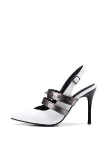 Contrast Spike Strap Slingback Heels