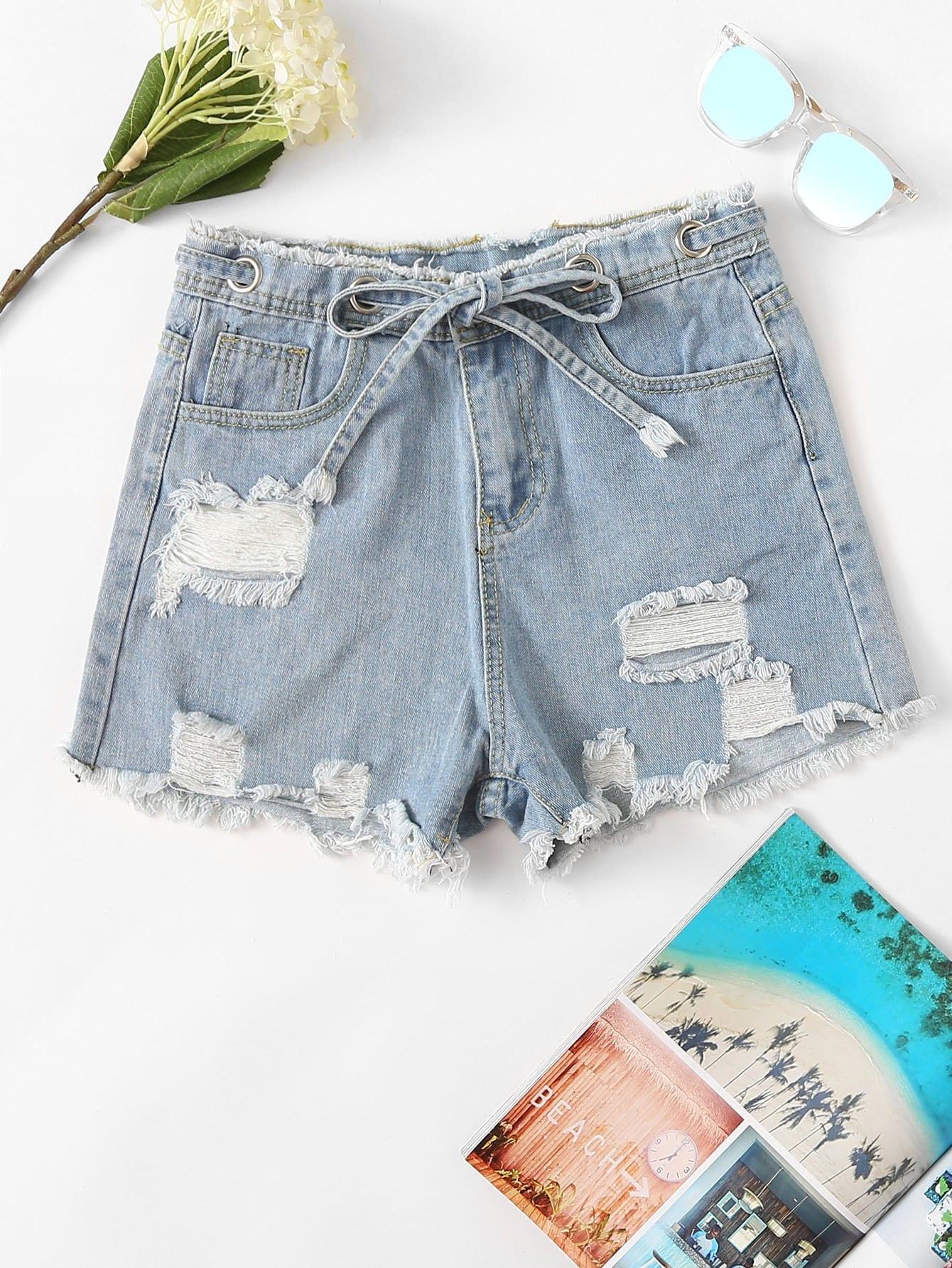 Tie Waist Frayed Hem Denim Shorts drawstring waist frayed denim shorts