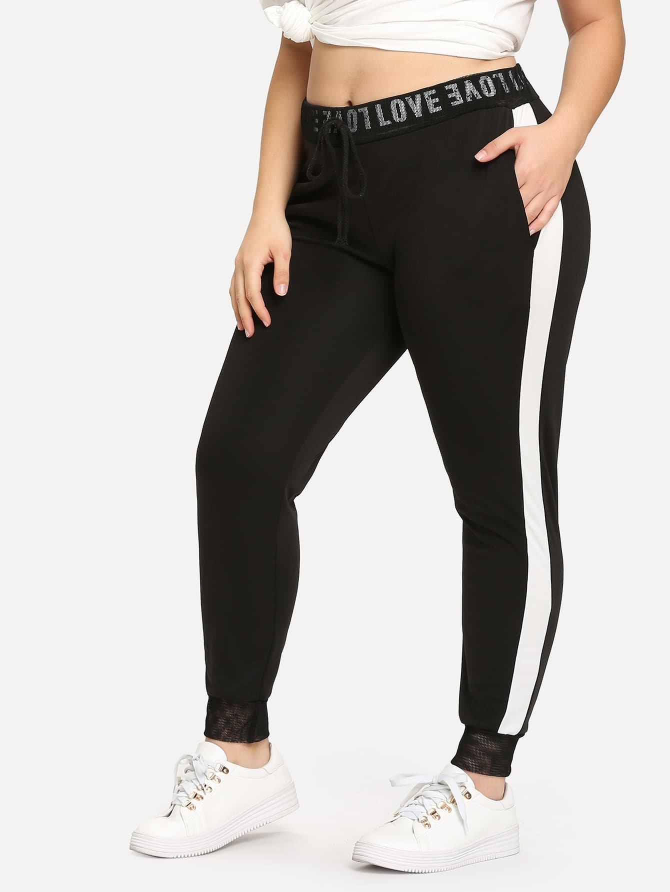 Contrast Tape Side Sweatpants contrast striped side sweatpants