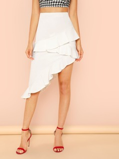 Ruffle Trim Asymmetrical Skirt