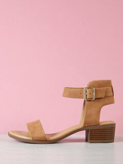 Buckle Ankle Strap Low Block Heel