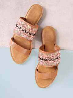 Embroidered Double Band Slide Sandal