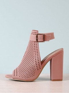 Peep Toe Perforated Band Chunky Mule Heel