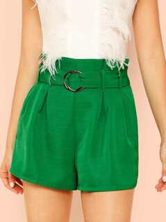 Paper bag Waist Shorts with O-Ring Belt
