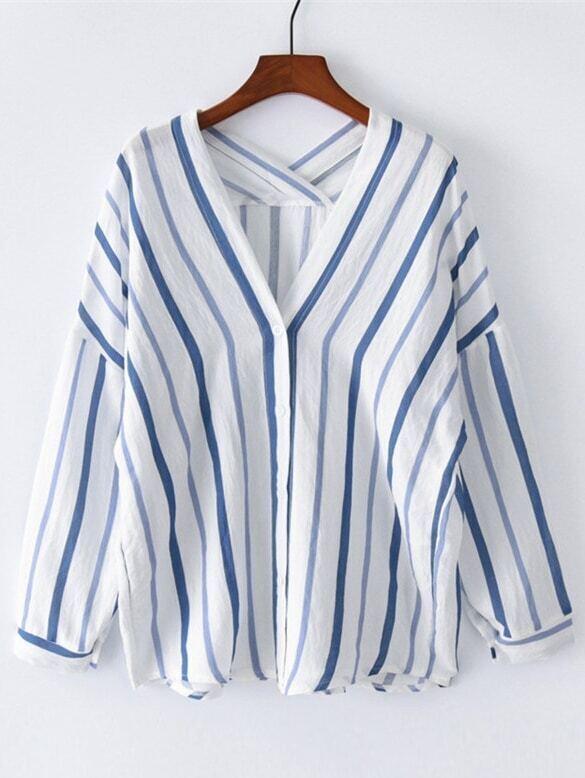 V Neckline Drop Shoulder Striped Blouse high low drop shoulder striped blouse