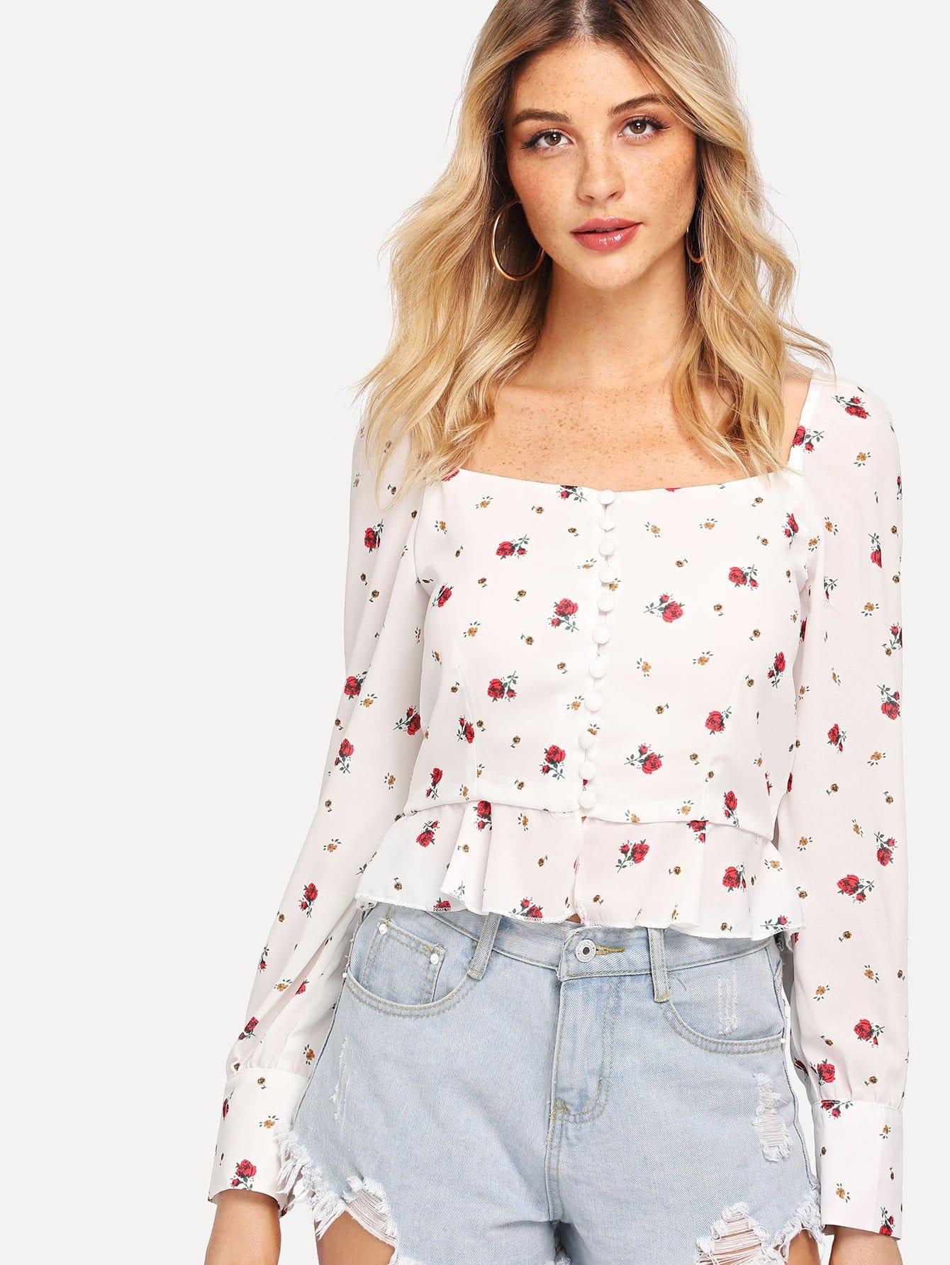 Купить Ruffle Hem Floral Print Blouse, Nathane, SheIn