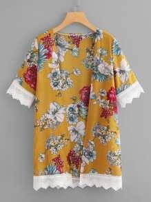Lace Trim Floral Print Kimono