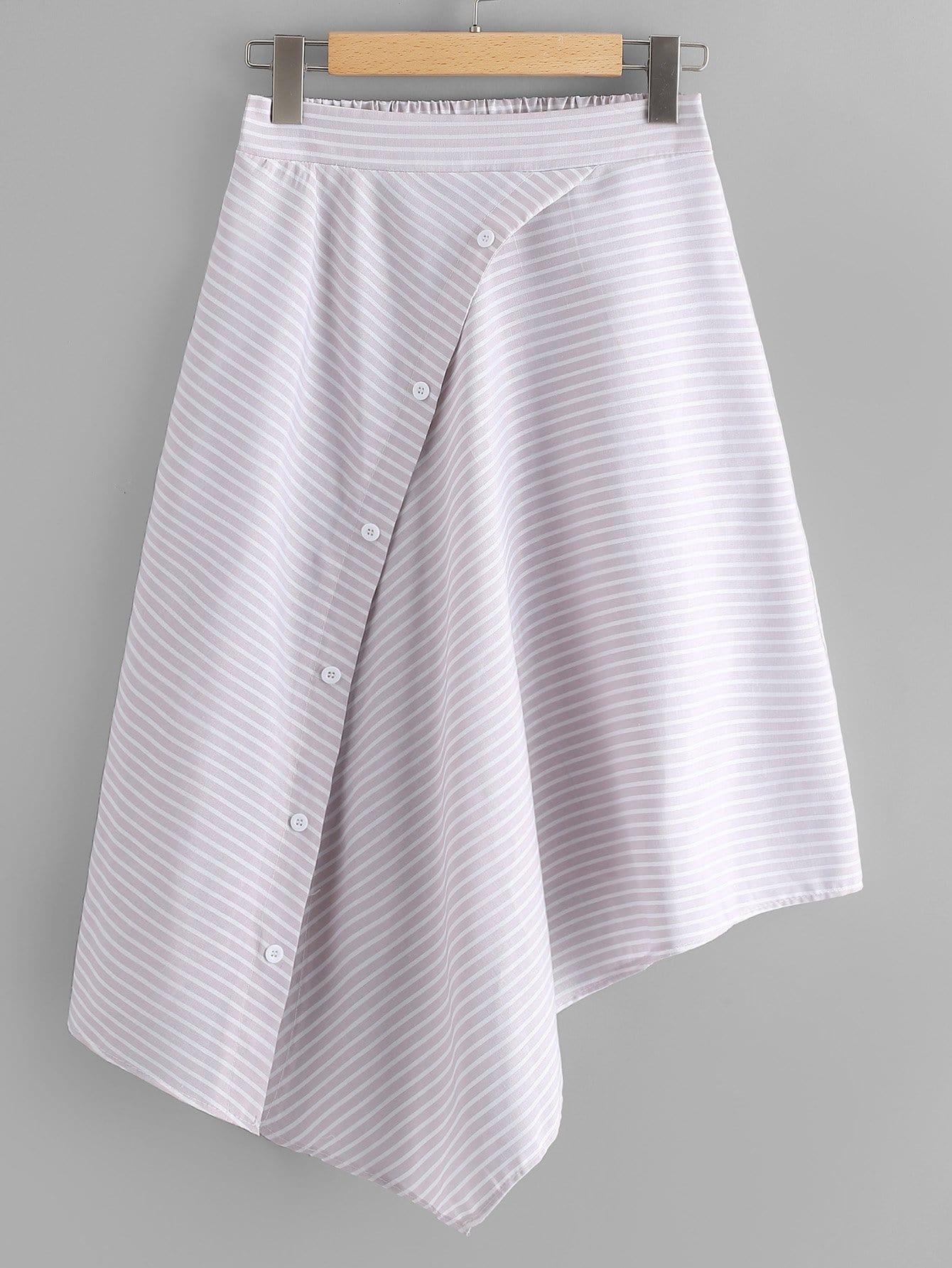 Asymmetrical Hem Striped Skirt