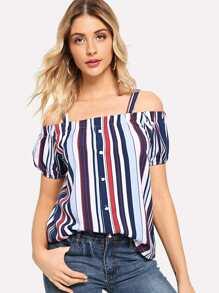 Open Shoulder Colorful Striped Blouse