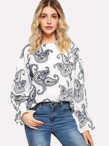 Graphic Embroidered Blouse