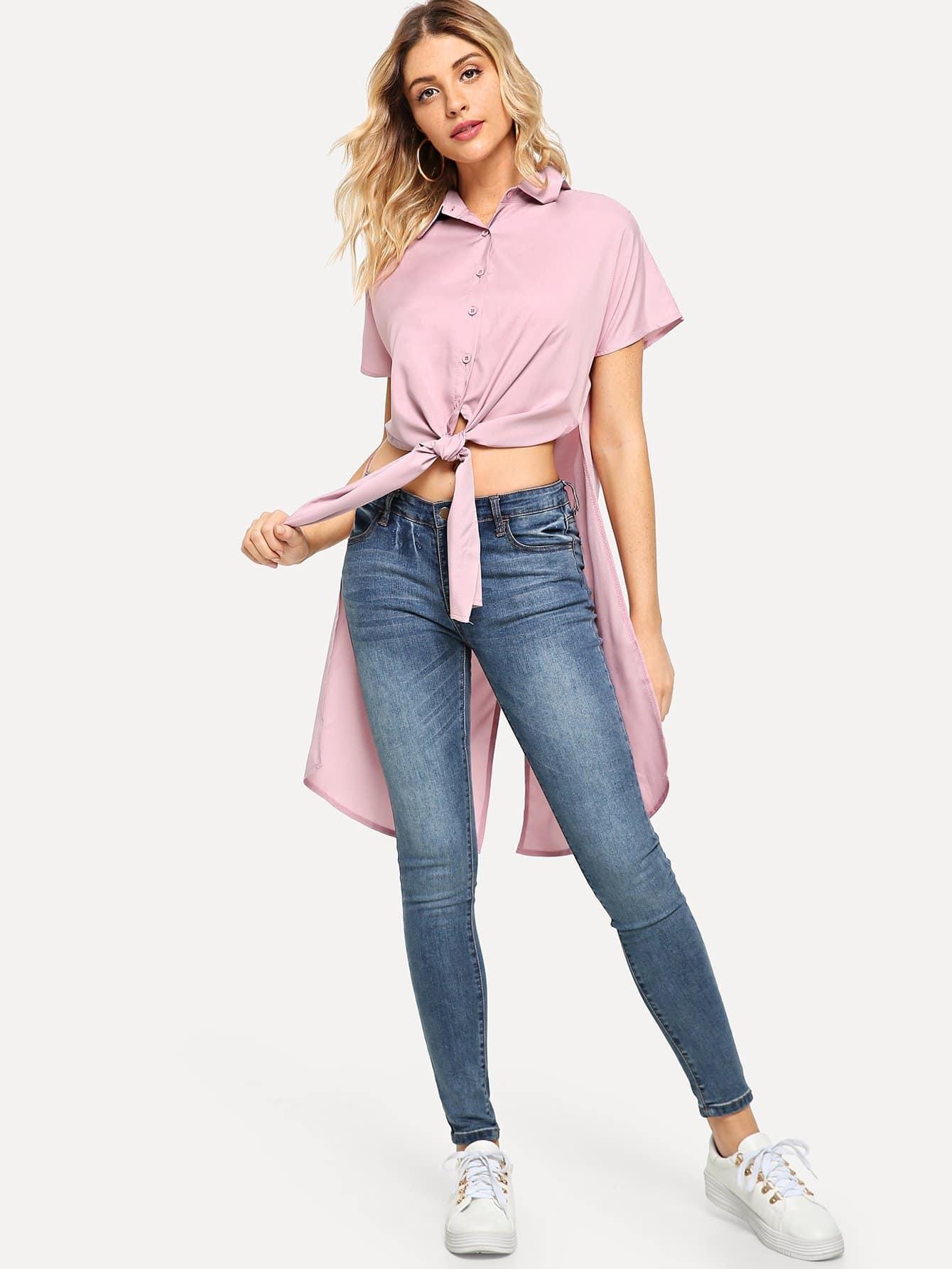 Купить Твердая сплитская длинношерстная блузка, Nathane, SheIn