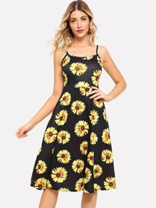 Sunflower Print Strap Dress