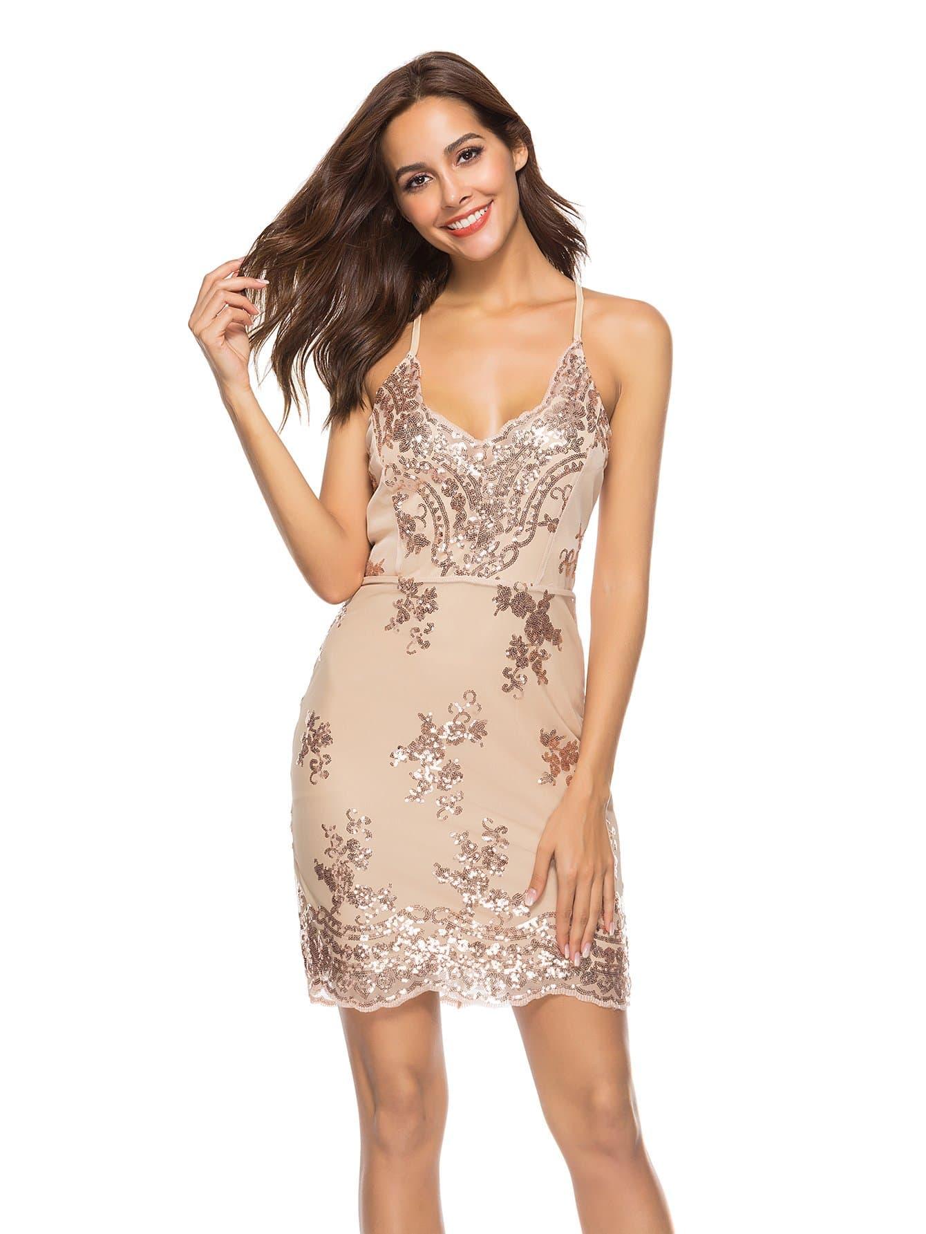 Купить Открытое Назад Платье Sequins Cami, null, SheIn