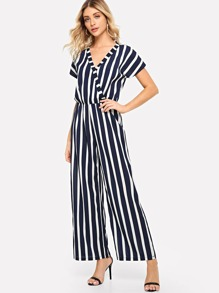 Striped Wrap Wide Leg Jumpsuit