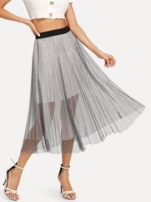 Plaid Mesh Skirt