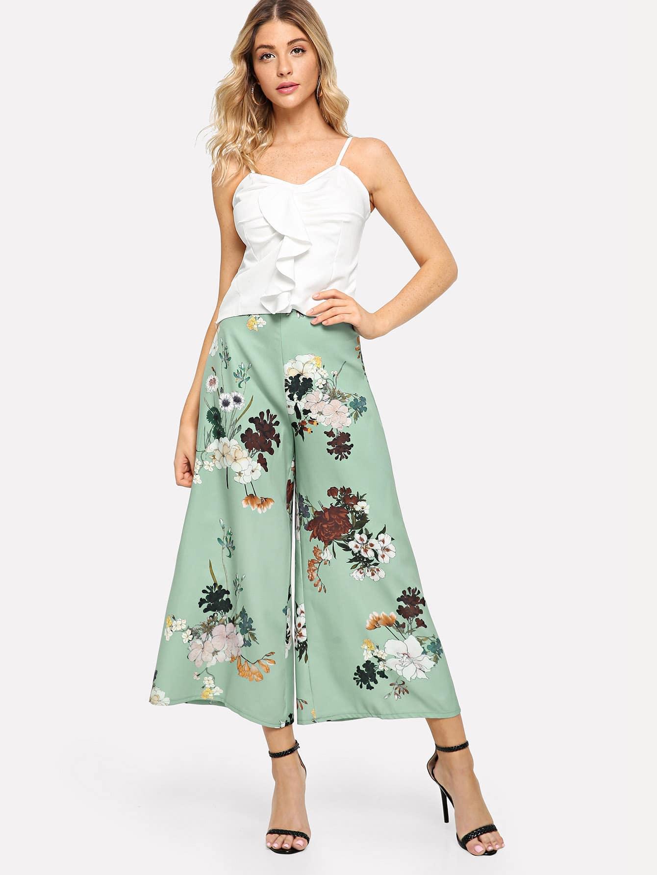 Твердые рябь Cami Top & Flower Print Широкие штаны для ног