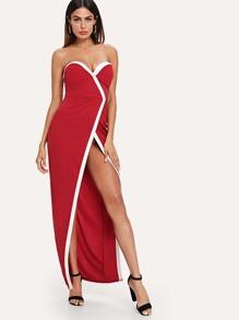 Split Contrast Trim Dress
