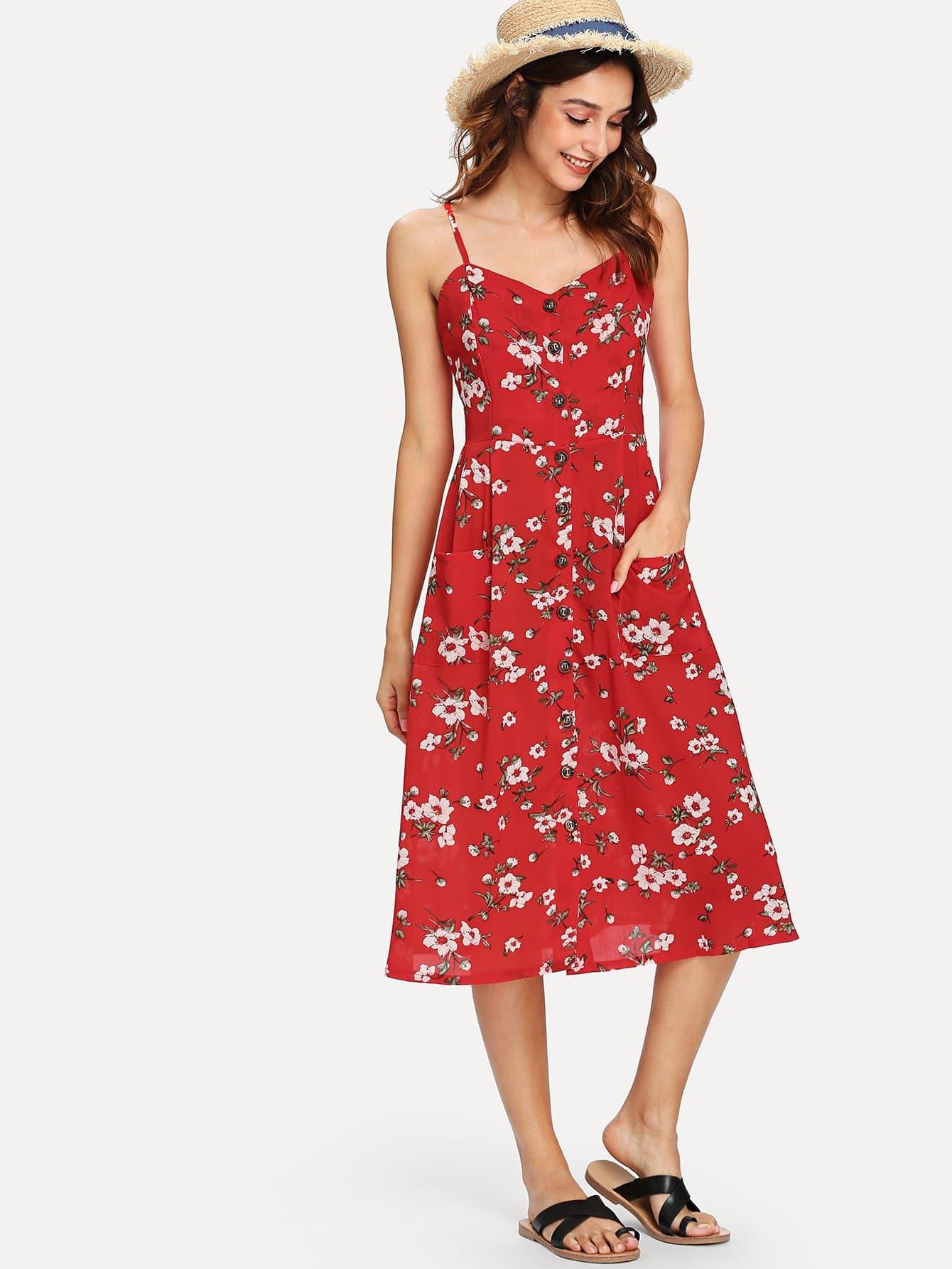 Купить Однобортное платье из цветочного ками, Gabi B, SheIn
