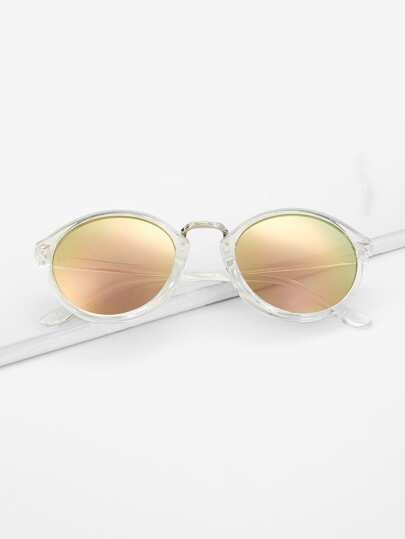 2f83a7d31a Clear Frame Mirror Lens Sunglasses, null - shein.com - imall.com