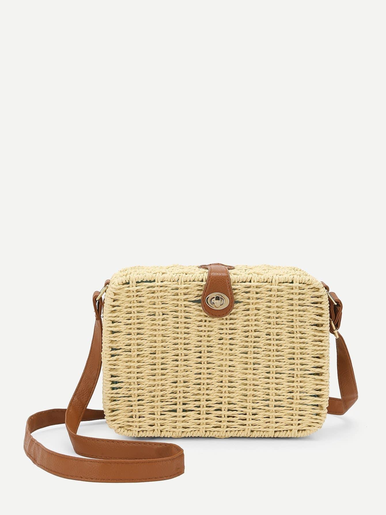 Twist Lock Woven Crossbody Bag