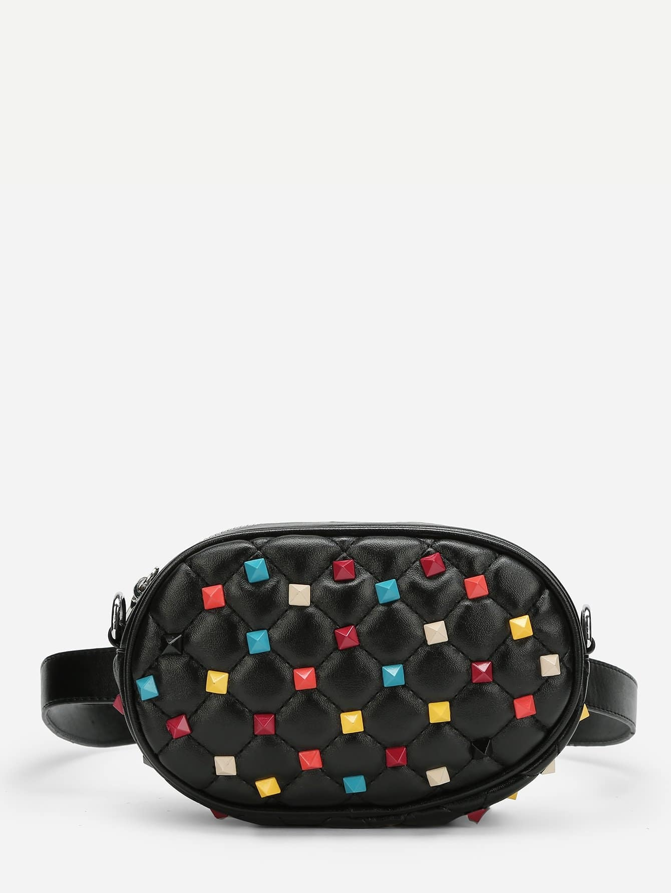 Studded Decorated PU Bag With Convertible Strap studded decorated pu bum bag